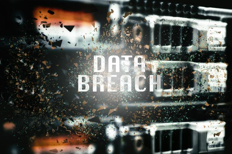 DATA BREACH word over abstract shattered effect background. For digital business and technology concept stock photo