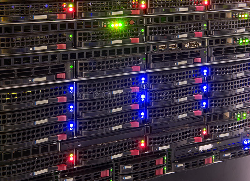 Data center. Servers with blue, green and red led diodes, box in air-conditioned room