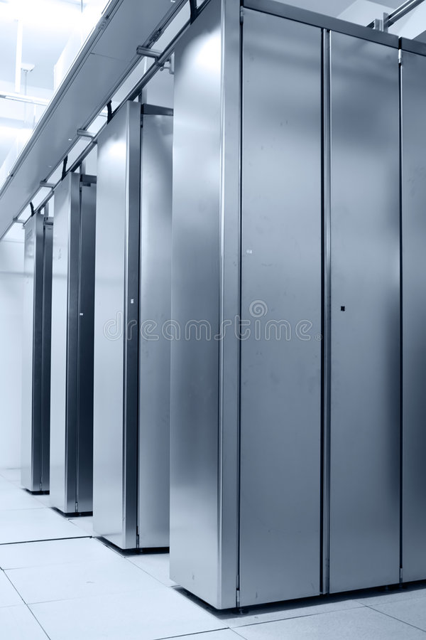 Data center. Communication server center interior in blue ton