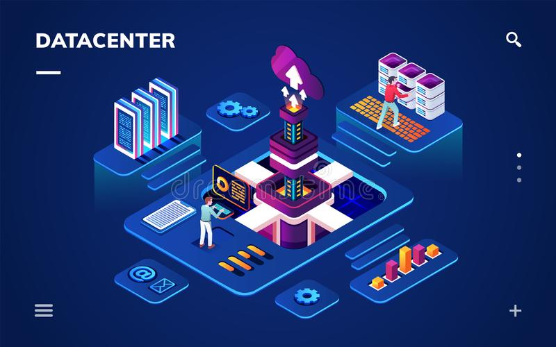 Data center or centre with hardware engineers. Data center or centre with hardware or software engineers. Isometric room with people working with big data server royalty free illustration