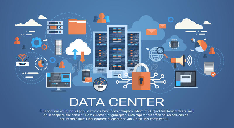 Data Center Cloud Computer Connection Hosting Server Database Synchronize Technology royalty free illustration