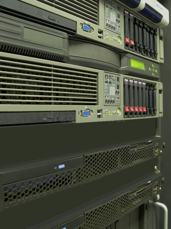 Data center computer servers rack