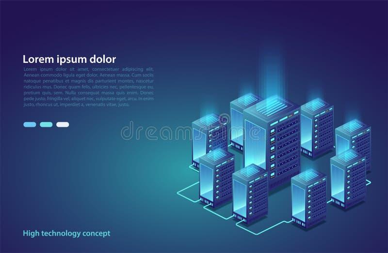 Data center. Concept of cloud storage, data transfer. Data transmission technology. vector illustration