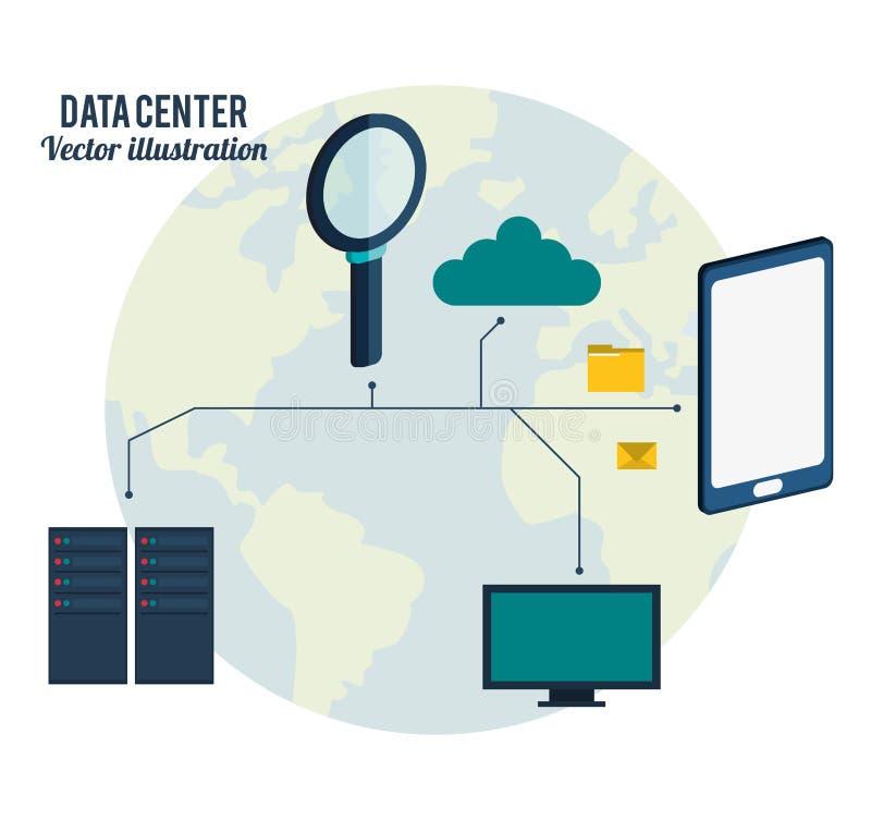 Data center connection hardware network stock illustration