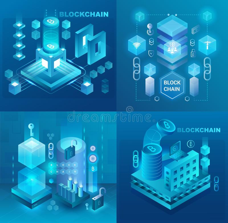 Data center, cryptocurrency and blockchain technology market isometric vector illustrations set. royalty free illustration