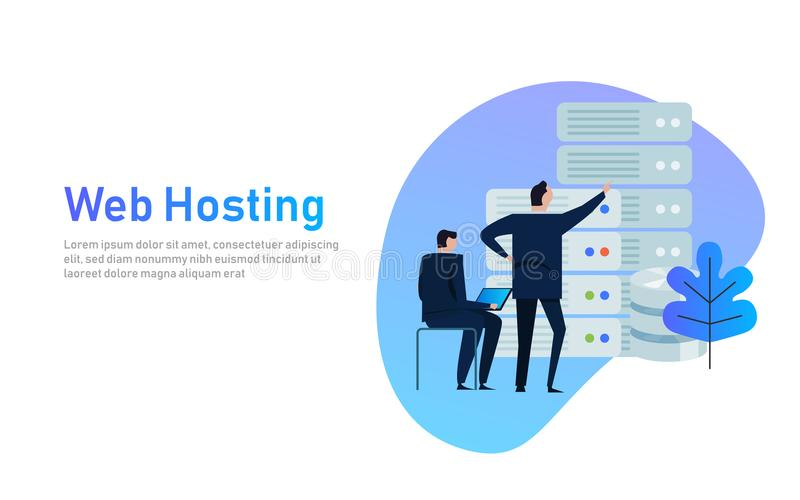 Data center design concept set with hosting servers icons isolated vector illustration. business man managing stock illustration