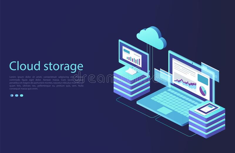Data center with digital devices. Concept of cloud storage, data transfer. stock illustration