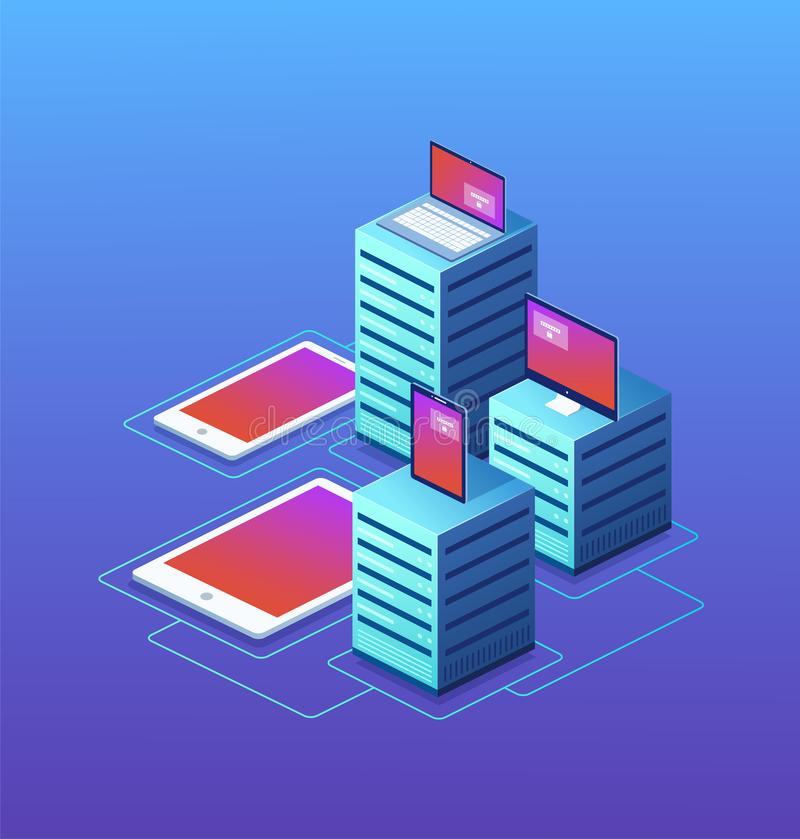 Data center with digital devices. vector illustration