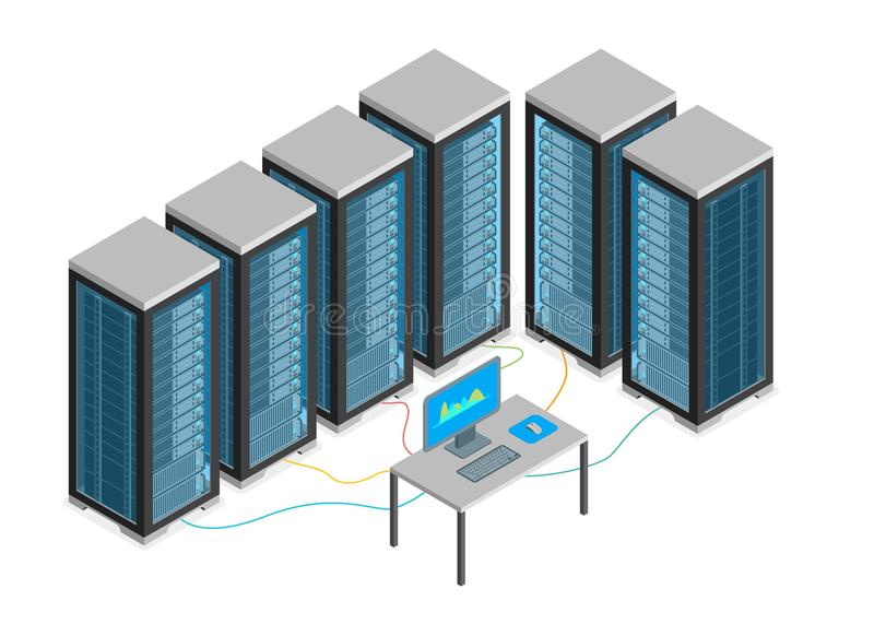 Data Center with Furniture and Equipment Isometric View. Vector. Data Center with Furniture and Equipment Isometric View Server Computer Room Workplace Elements stock illustration