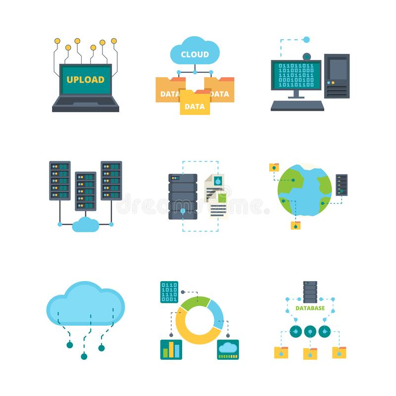 Data center icon. Cloud technology security management data bases computer networking vector flat symbols collection. Illustration data cloud server, storage stock illustration