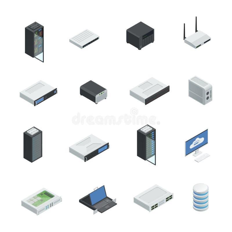 Network Equipment Icons : Data center icon set stock vector illustration of gear