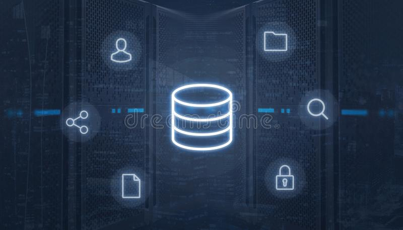 Data center icon surrounded with online services icons royalty free illustration