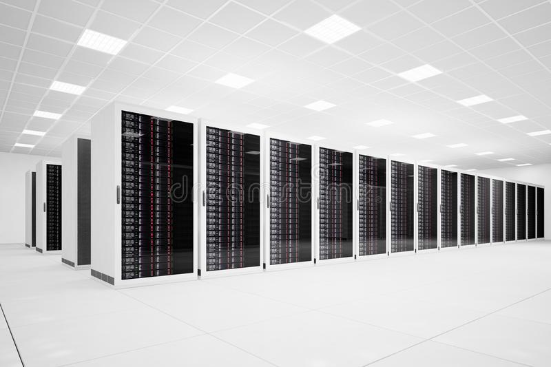 Data Center with long row angular. Data Center with long row of servers angular view