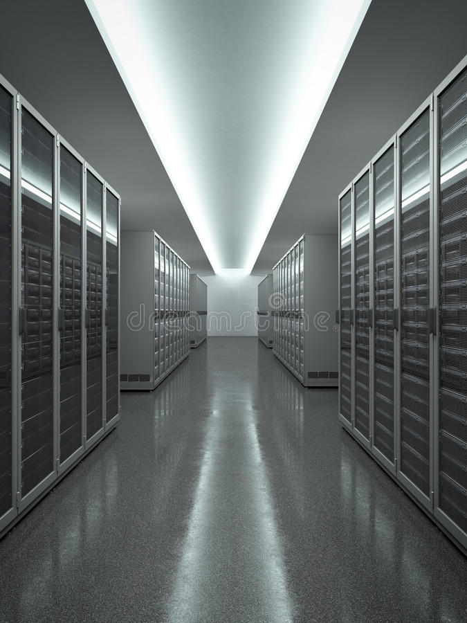Data Center with long row of servers vector illustration