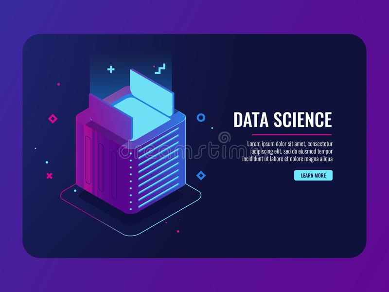 Data center, open box, program and application install concept, module of futuristic devices isometric server room and. Cloud storage vector illustration, dark stock illustration
