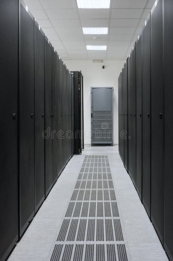 Data Center. Real Server Room at Data Center - Server Rack, Power Supply and Air Conditioning Systems shown, no 3D stock images