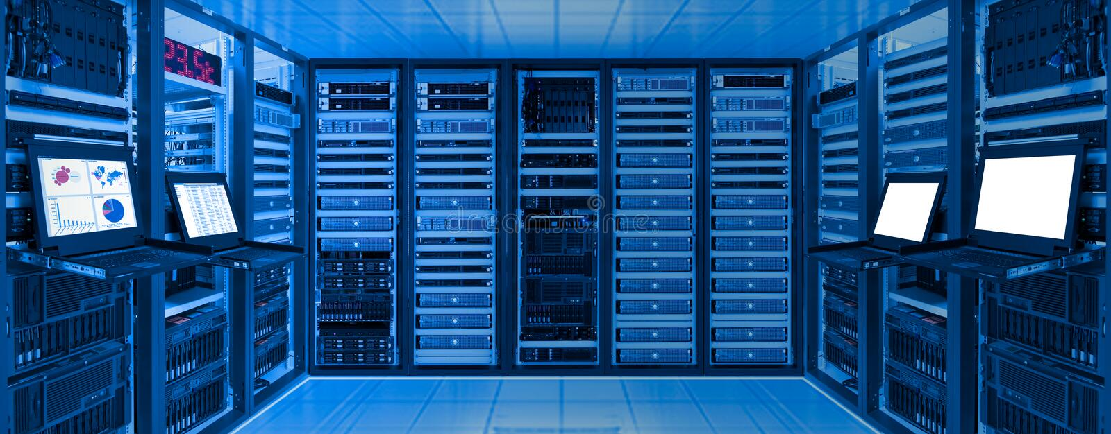 Data center room with server and networking device on rack cabinet stock image