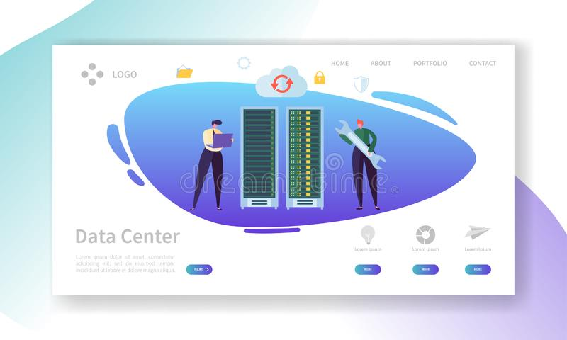 Data Center Server Repair Landing Page. Technician Character Support Professional Storage with Laptop. Database Hosting stock illustration