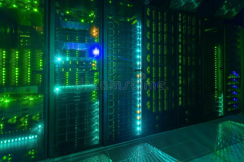 Data center, server room. internet and network telecommunication technology. royalty free stock image