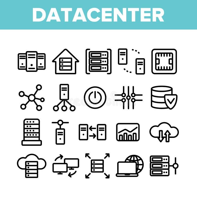 Data Center, sistema linear de los iconos del vector de la tecnología stock de ilustración