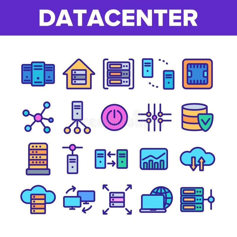 Data Center, sistema linear de los iconos del vector de la tecnolog?a ilustración del vector