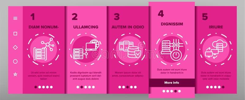 Data Center skärm för sida för teknologivektorOnboarding mobil App royaltyfri illustrationer