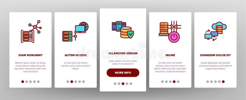 Data Center skärm för sida för teknologivektorOnboarding mobil App vektor illustrationer