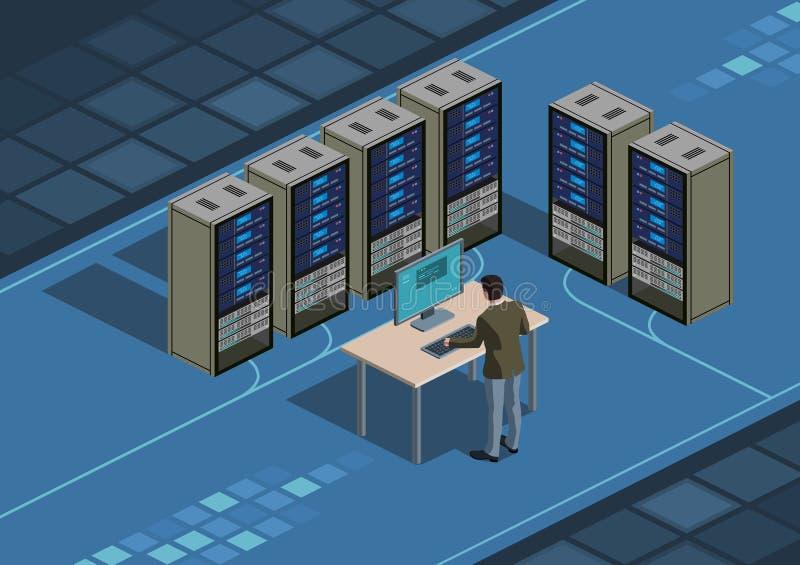 Data center and system administrator stock illustration