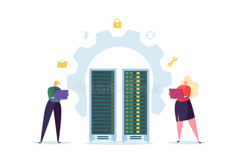 Data Center Technology Concept. Flat People Characters Engineers Working in Network Server Room. Web Hosting stock illustration