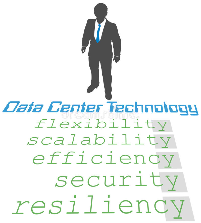 Data Center Technology Strategy. Business person plans update of company Data Center Technology Strategy royalty free illustration