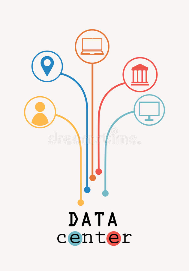 Data center tree vector illustration