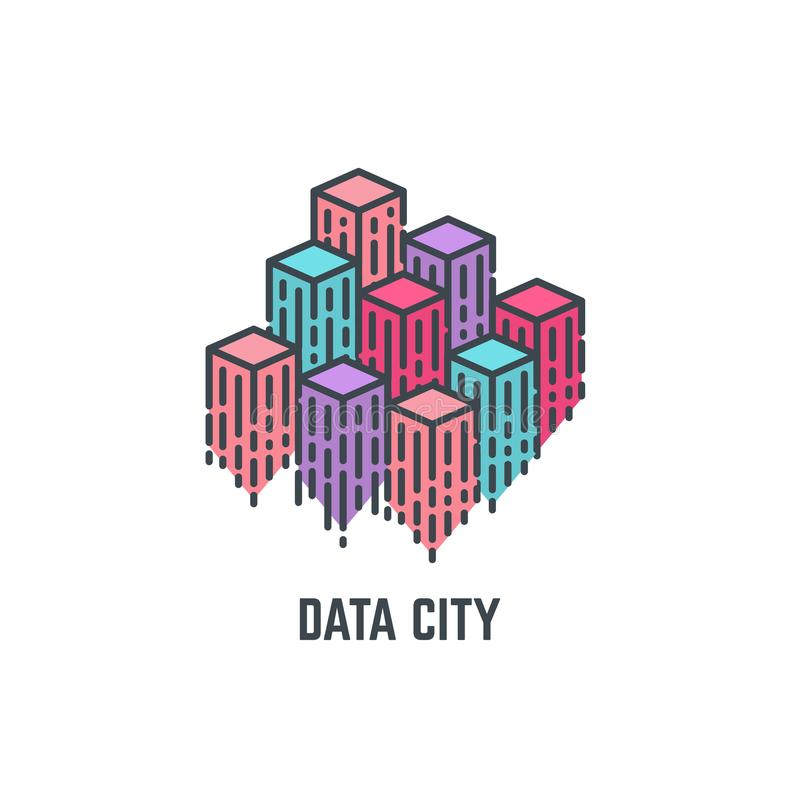Data city skyscrapers royalty free illustration