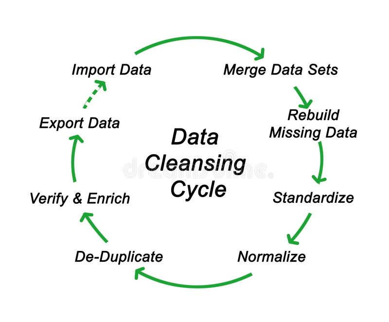 Data Cleansing Cycle. Components of Data Cleansing Cycle royalty free illustration