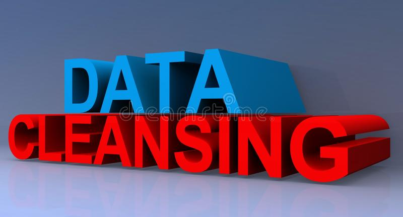 Data cleansing. Heading on blue background vector illustration