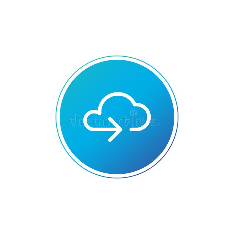 Data cloud circle button. Backup, restore. Upload, download. Arrow as a part of cloud. Vector illustration isolated on white royalty free illustration