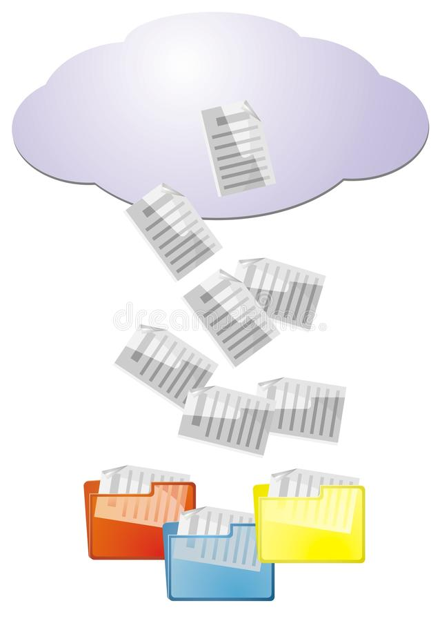 Download Data From Cloud Computing Into File Folders Stock Photo - Image: 33294830