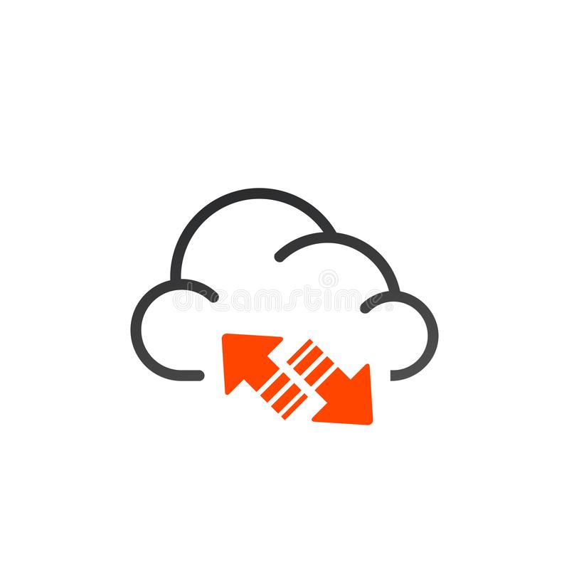 Data cloud icon. Backup and restore sign. Backup and restore data cloud. Upload to and download from data cloud. Internet traffic royalty free illustration