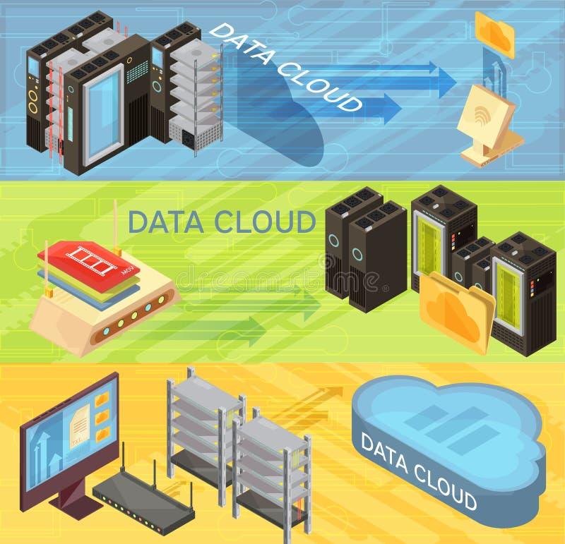 Data Cloud Isometric Banners Set stock illustration
