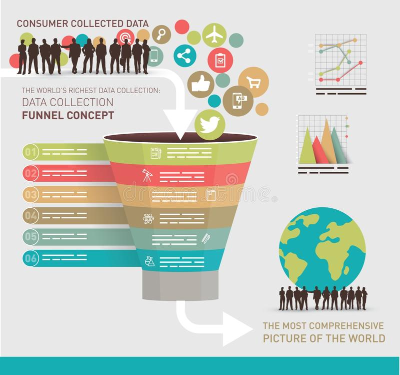 Data collection concept. Symbolized with a funnel vector illustration