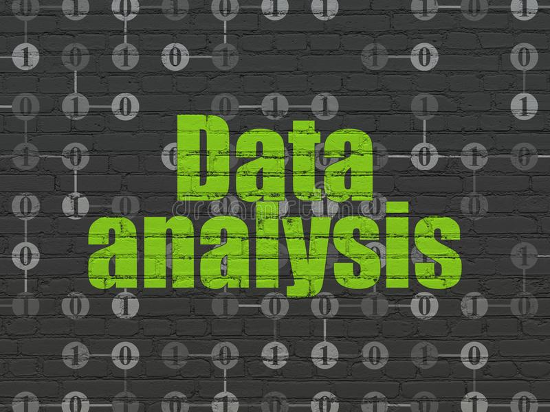 Data concept: Data Analysis on wall background. Data concept: Painted green text Data Analysis on Black Brick wall background with Scheme Of Binary Code vector illustration