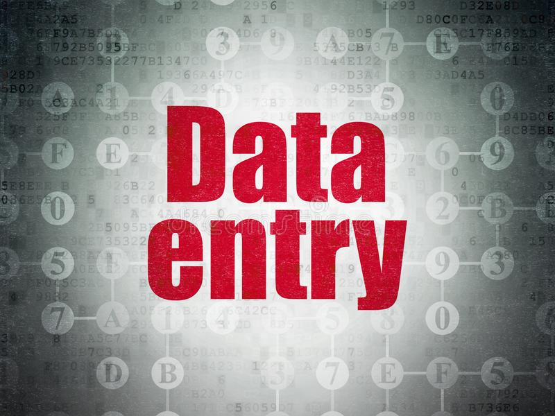 Data concept: Data Entry on Digital Data Paper background. Data concept: Painted red text Data Entry on Digital Data Paper background with Scheme Of Hexadecimal stock illustration