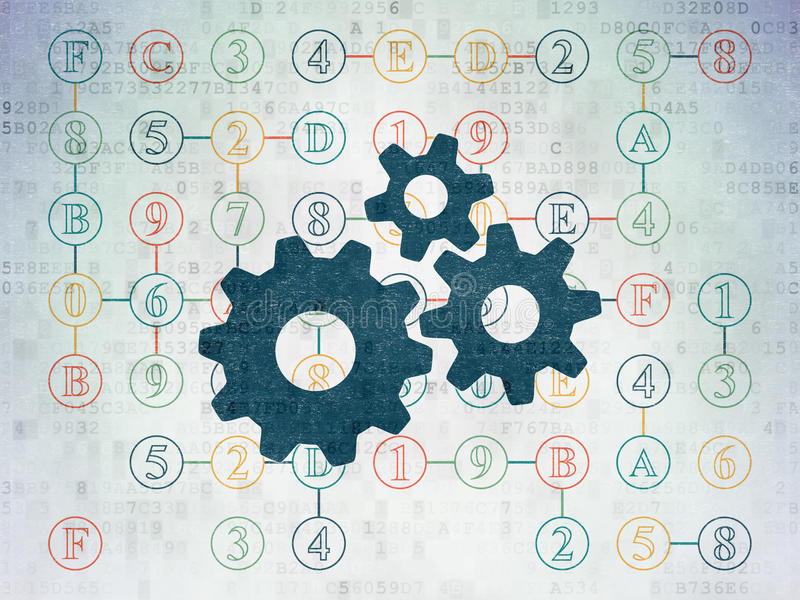 Data concept: Gears on Digital Paper background. Data concept: Painted blue Gears icon on Digital Paper background with Scheme Of Hexadecimal Code, 3d render stock illustration