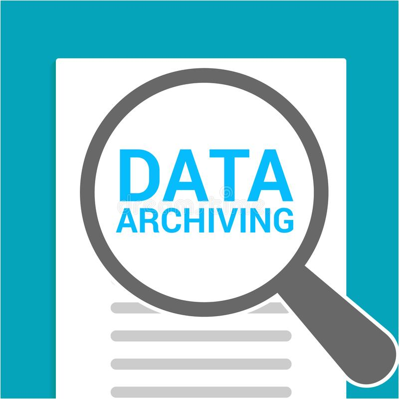 Data Concept: Magnifying Optical Glass With Words Data Archiving royalty free illustration