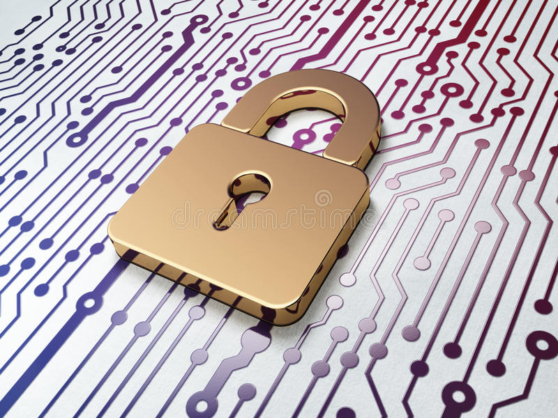 Data concept: Padlock on Circuit Board background stock image