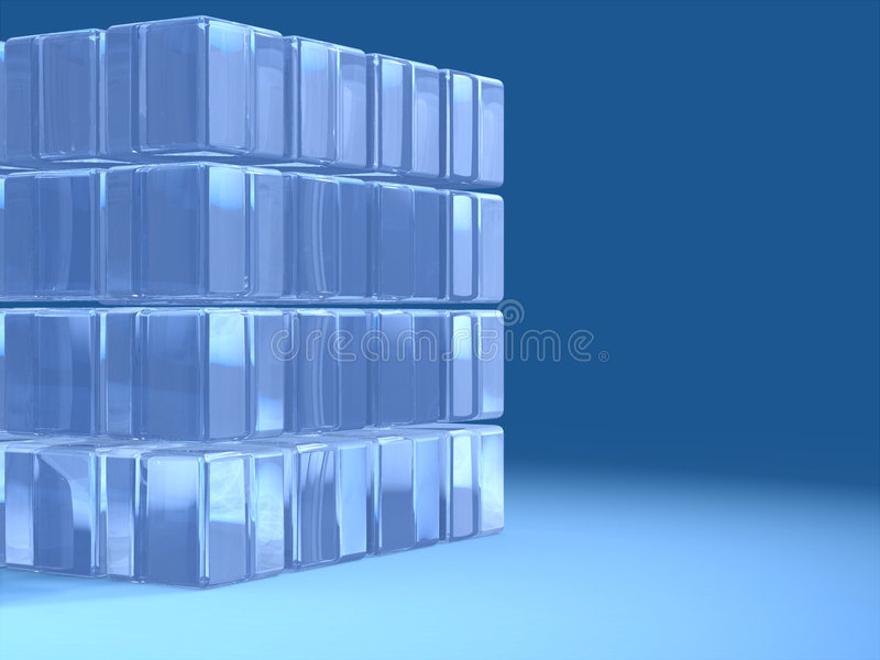 Data cube. A transparent glass cube over a blue background. Text space on the right. Digital illustration royalty free illustration
