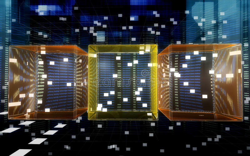 Data cubes in the cyberspace stock illustration