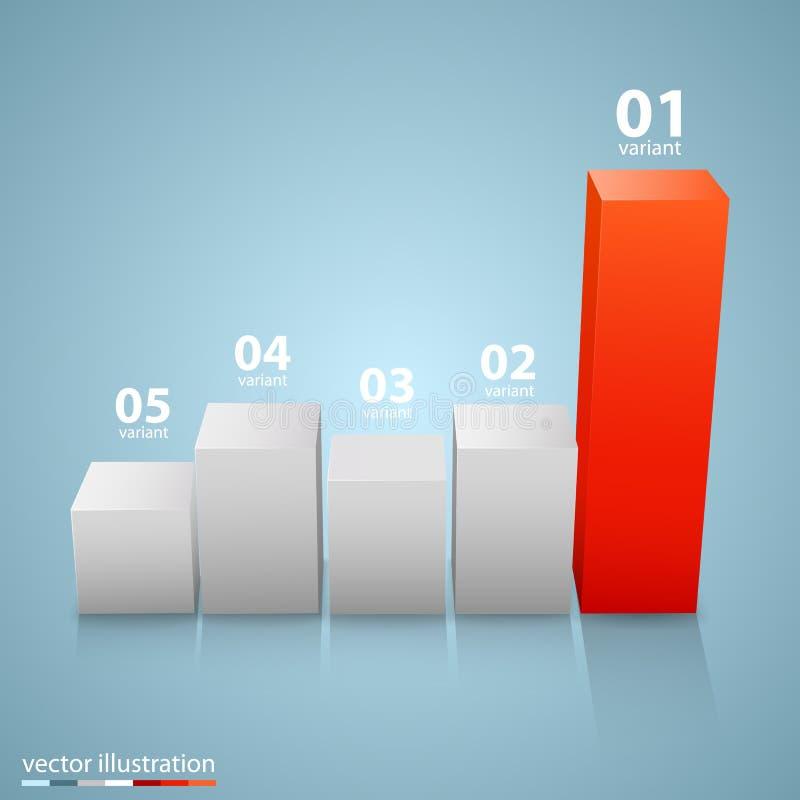 Data 3d growth chart. stock illustration