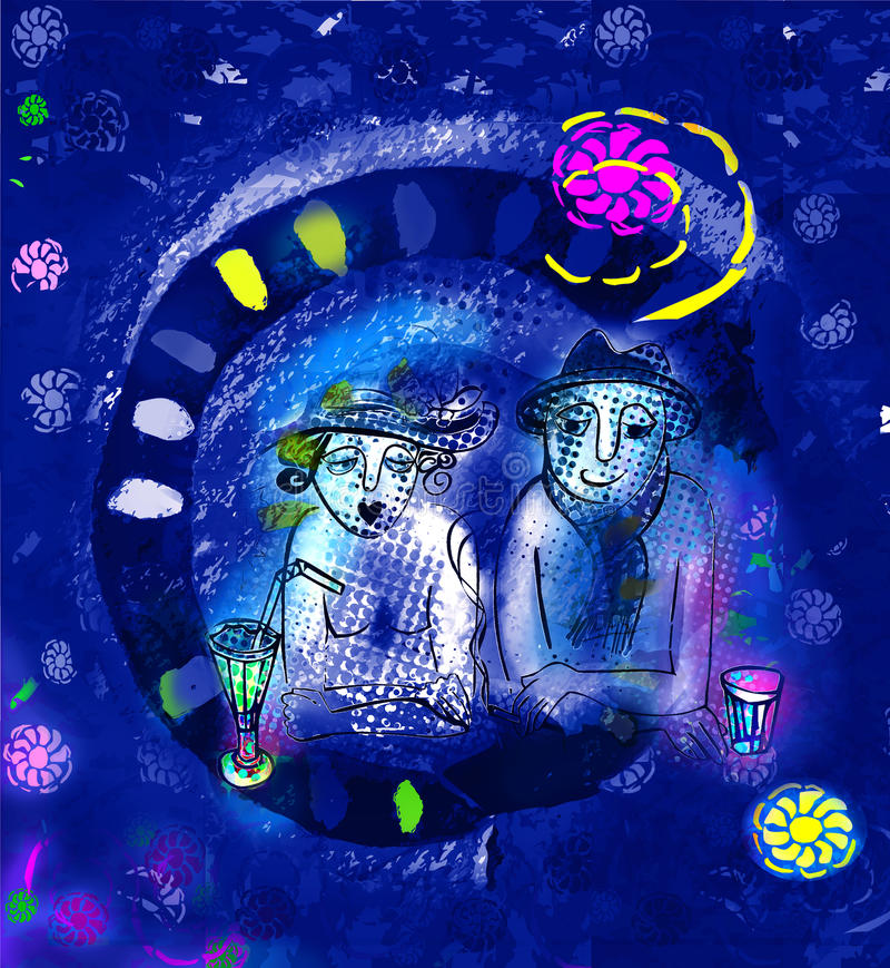 Data da noite com álcool da gota ilustração royalty free