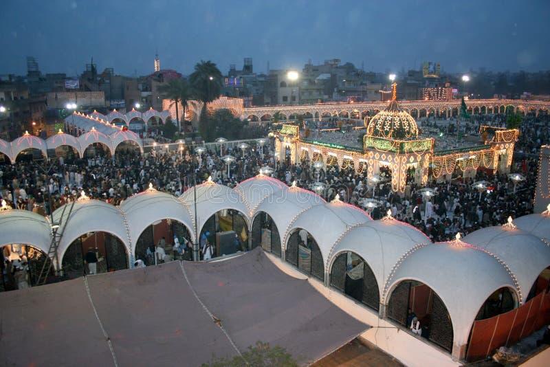 Data Darbar Uras 2010. Beautiful Pakistan Night view of Uras Data Darbar 2010 Lahore Punjab Pakistan royalty free stock images
