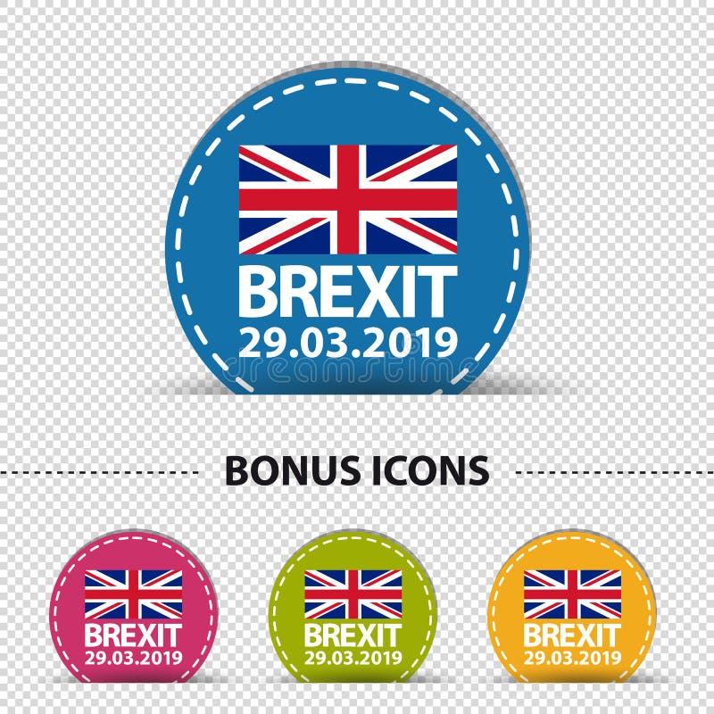Data de Brexit 2019 - quatro botões redondos coloridos - ilustração do vetor - isolada no fundo transparente ilustração do vetor